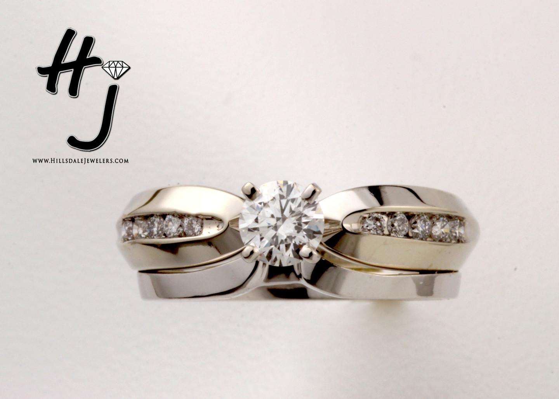 10 Karat White Gold .60 dtw Diamond Set With Plain Band (.41 ctw Round Diamond)