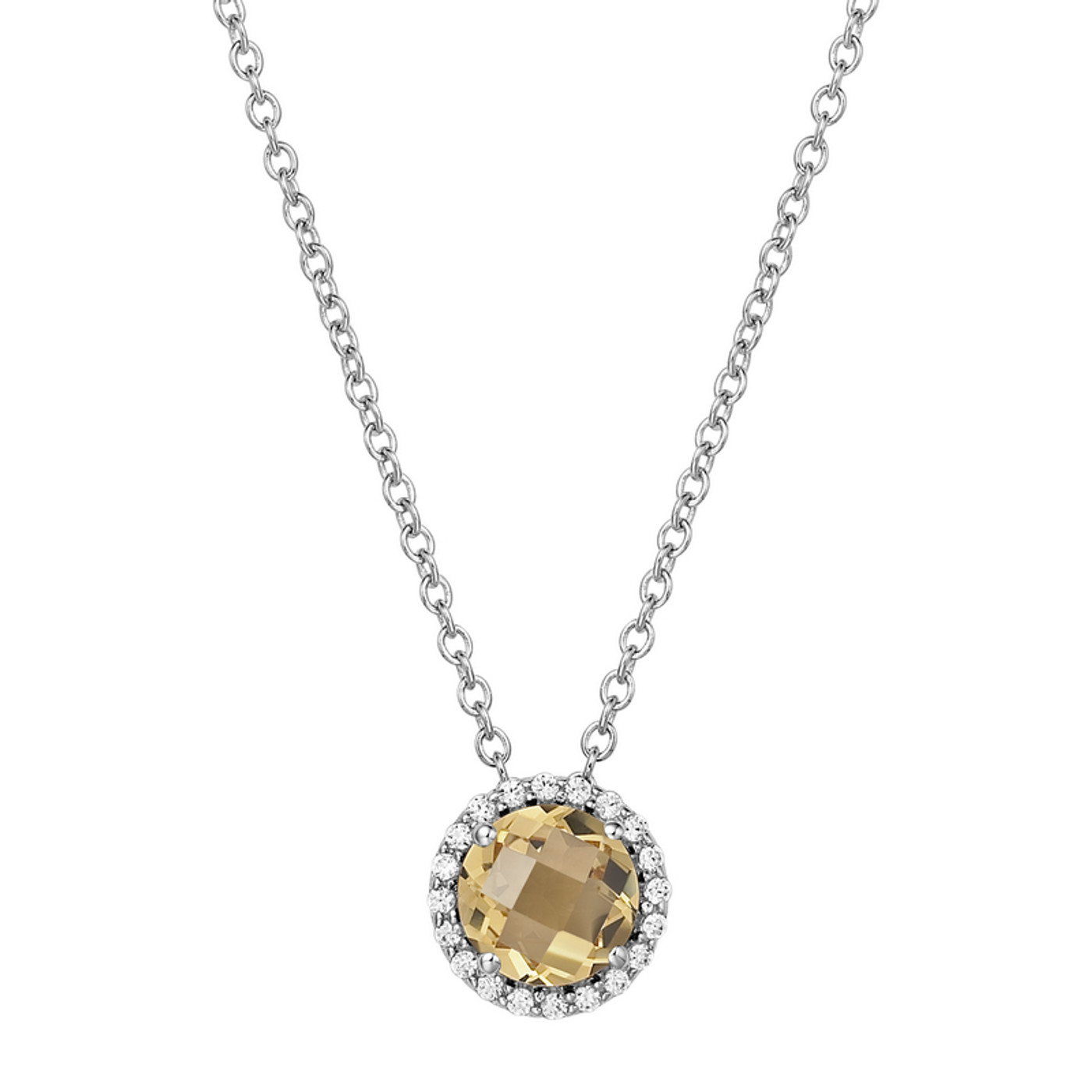 """Sterling Silver Citrine with Simulated Diamond Pendant with 18"""" Chain"""