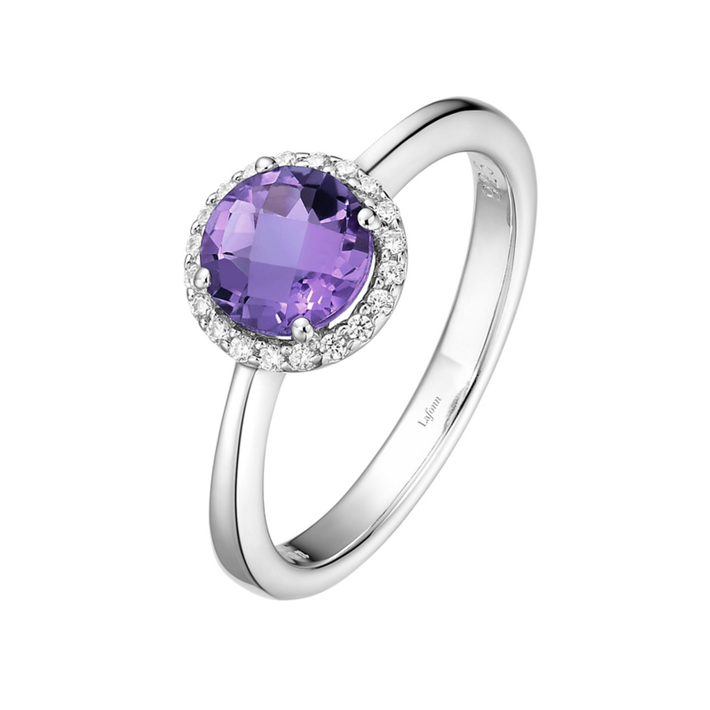 Sterling Silver Amethyst with Simulated Diamond Ring