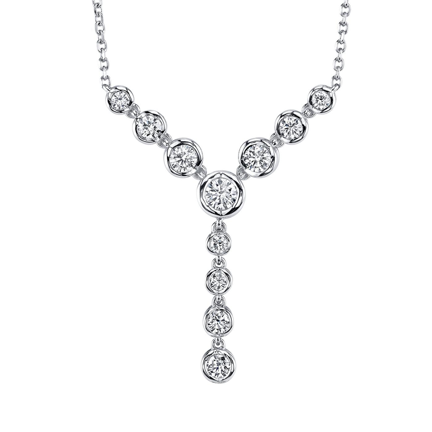 14 Karat White Gold .50DTW Bezel Dangle Sirena Pendant with Adjustable Chain