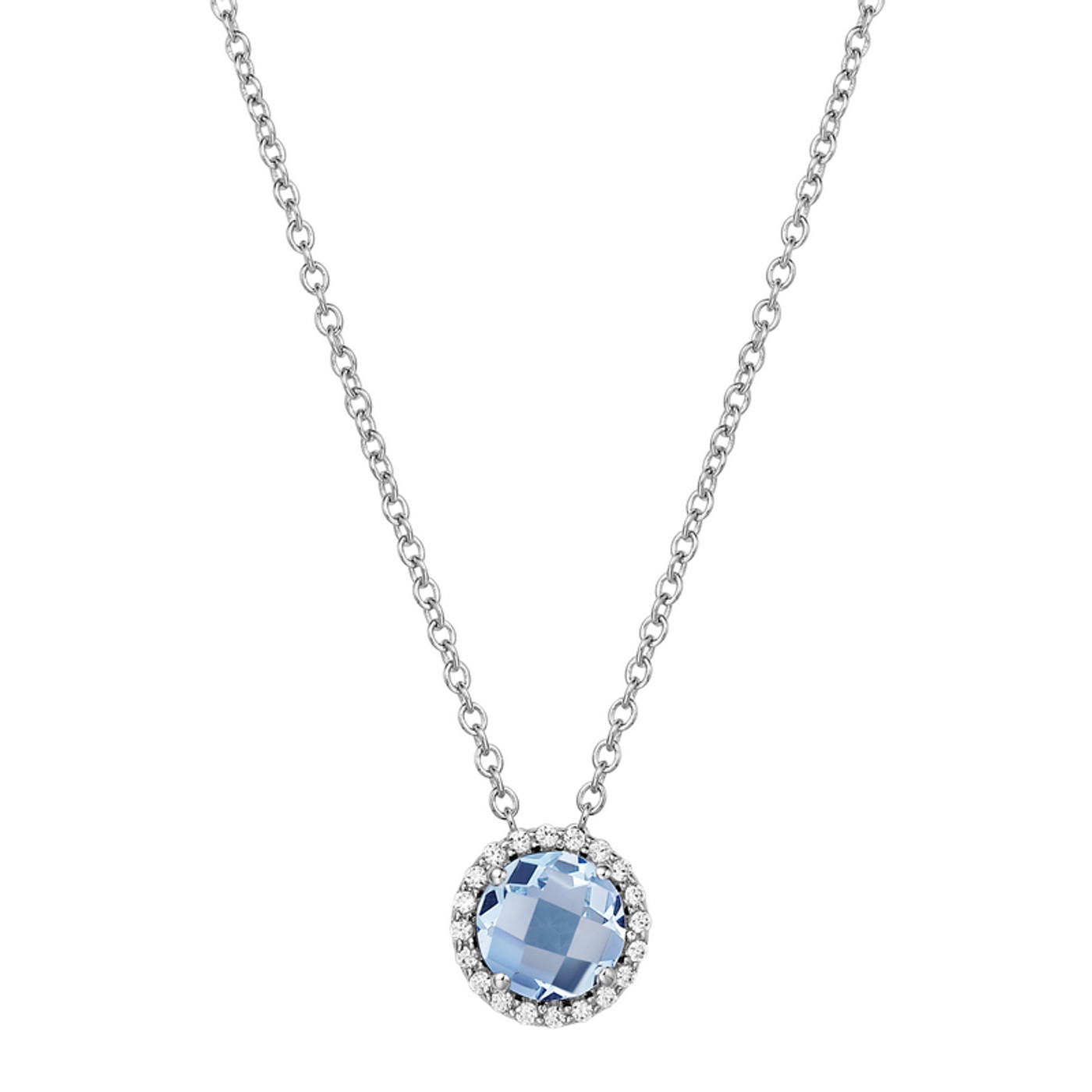 """Sterling Silver Simulated Aqua with Simulated Diamond Pendant with 18"""" Chain"""