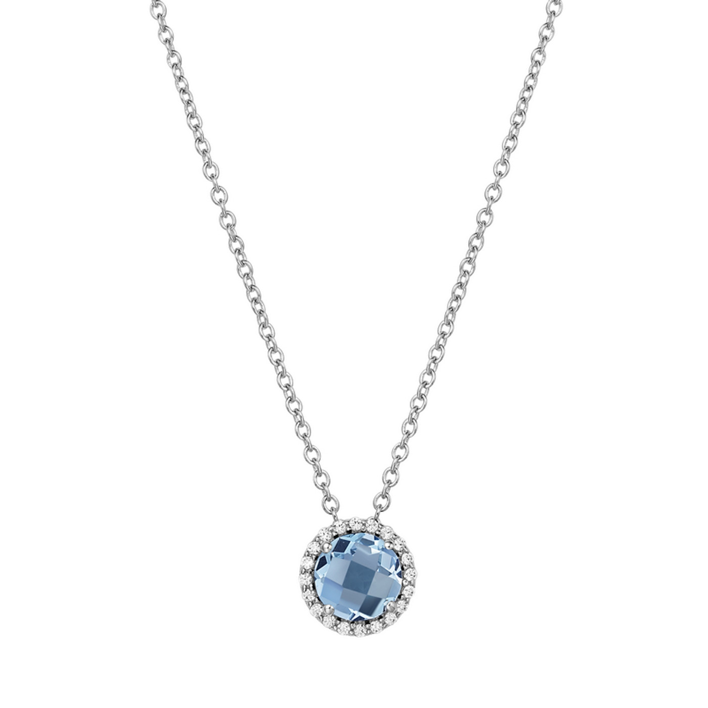 "Sterling Silver Blue Topaz with Simulated Diamond Pendant with 18"" Chain"