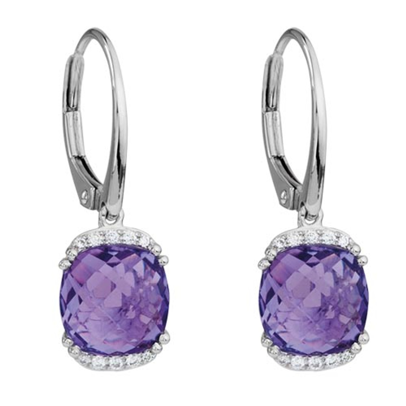 14 Karat White Gold  .09 DTW with Cushion Amethyst Leverbacks