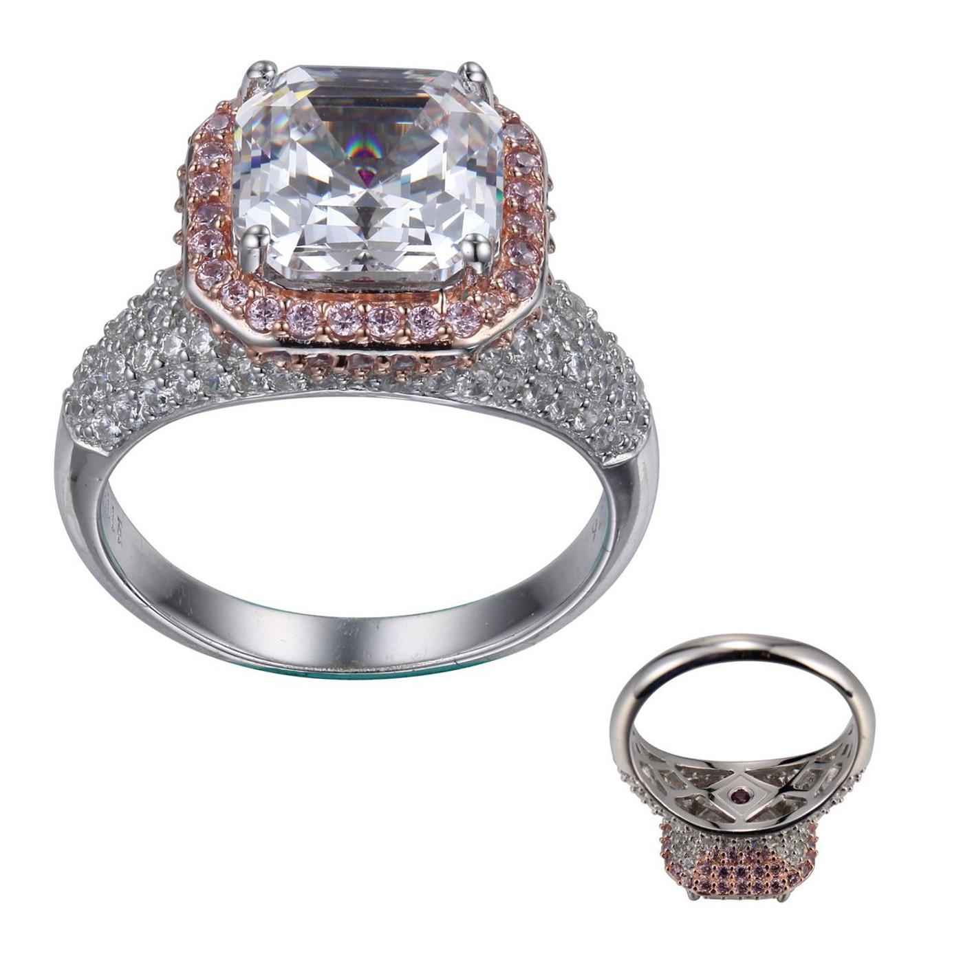 Elle Sterling Silver 2 tone (Rose) CZ Asscher Cut w/Clear & Pink CZs Ring