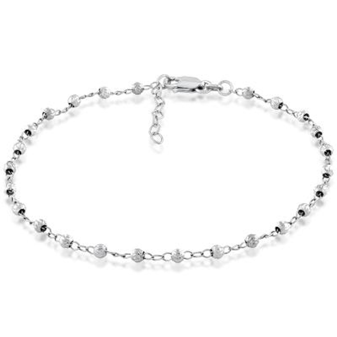"""Sterling Silver Diamond Cut Beaded Anklet  9""""+1"""""""
