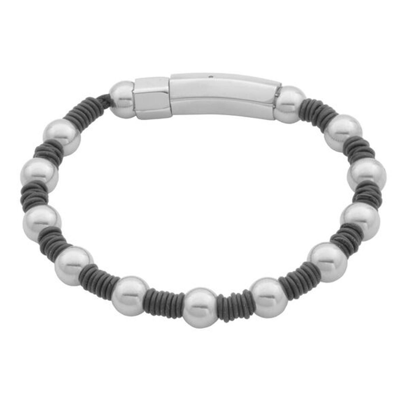 "SteelX Stationed Ball & Rubber Bracelet 9"""