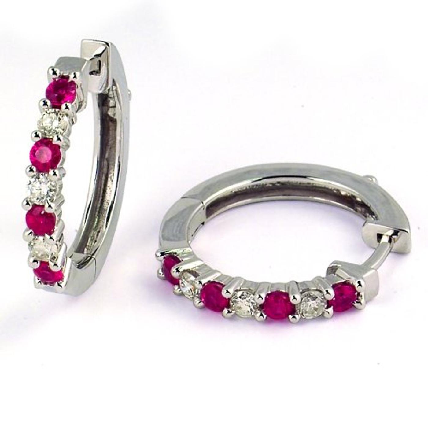 14 Karat White Gold Diamond & Ruby .35 DTW Hoop Earrings