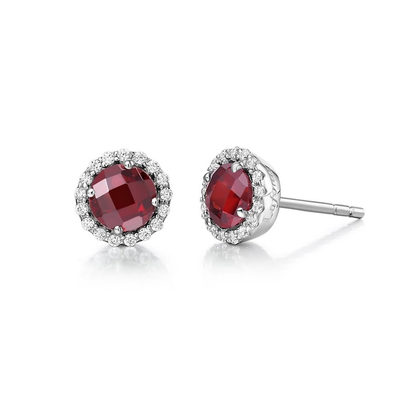Sterling Silver Garnet & Simulated Diamond Stud Earrings