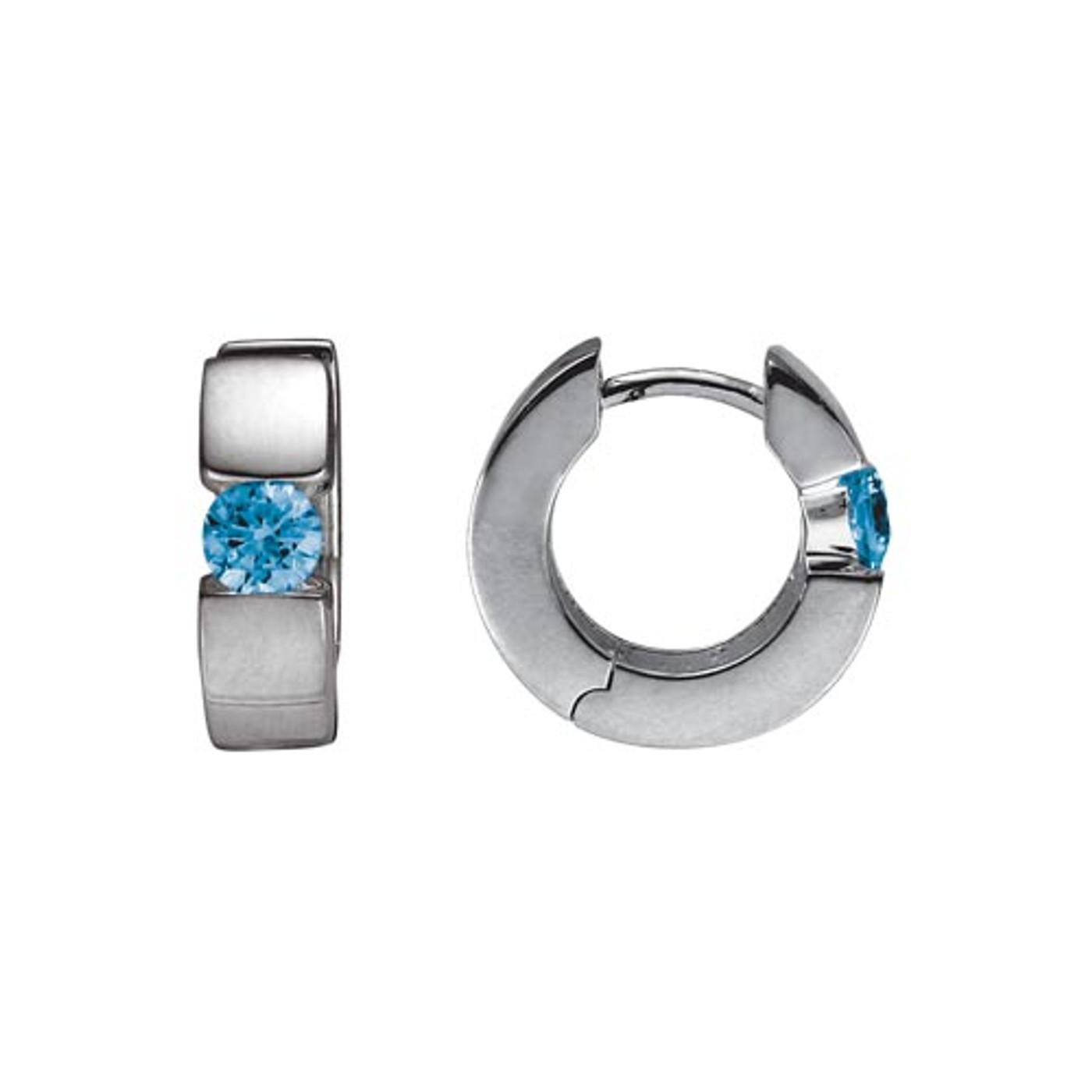 Sterling Silver Hinged Hoop Earrings with Blue Topaz