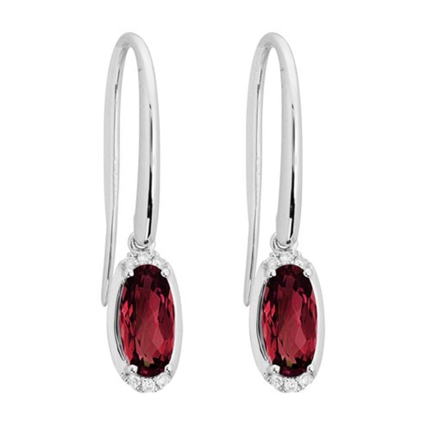 14 Karat White Gold Oval Garnet & Diamond Dangle Earrings