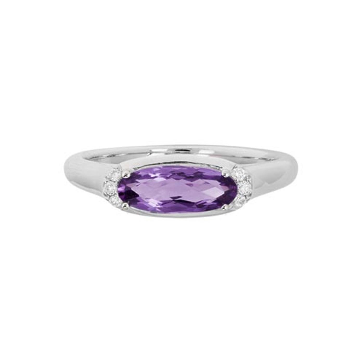 14 Karat White Gold Oval Amethyst & Diamond Ring