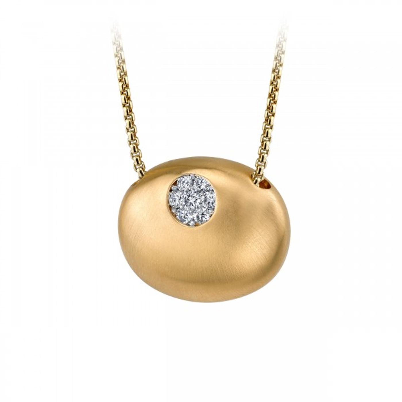 14 Karat Yellow Gold Small Oval & Diamond Necklace .10 DTW