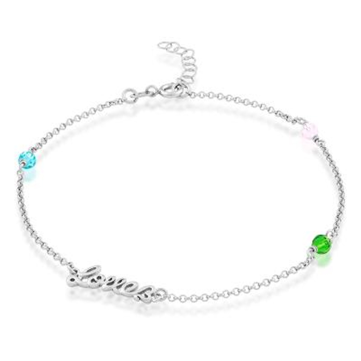 """Sterling Silver Anklet with Colored Crystals & Love  9""""+1"""""""