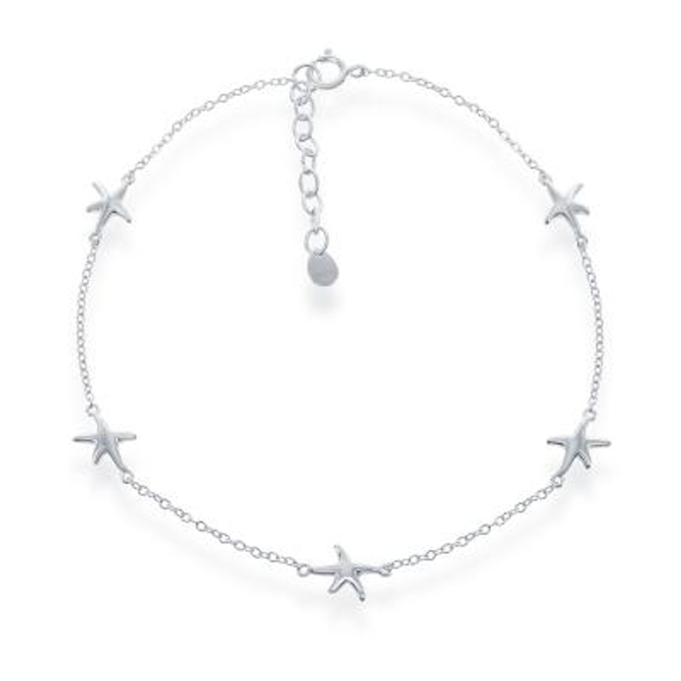 "Sterling Silver Anklet with Starfish 9""+1"""