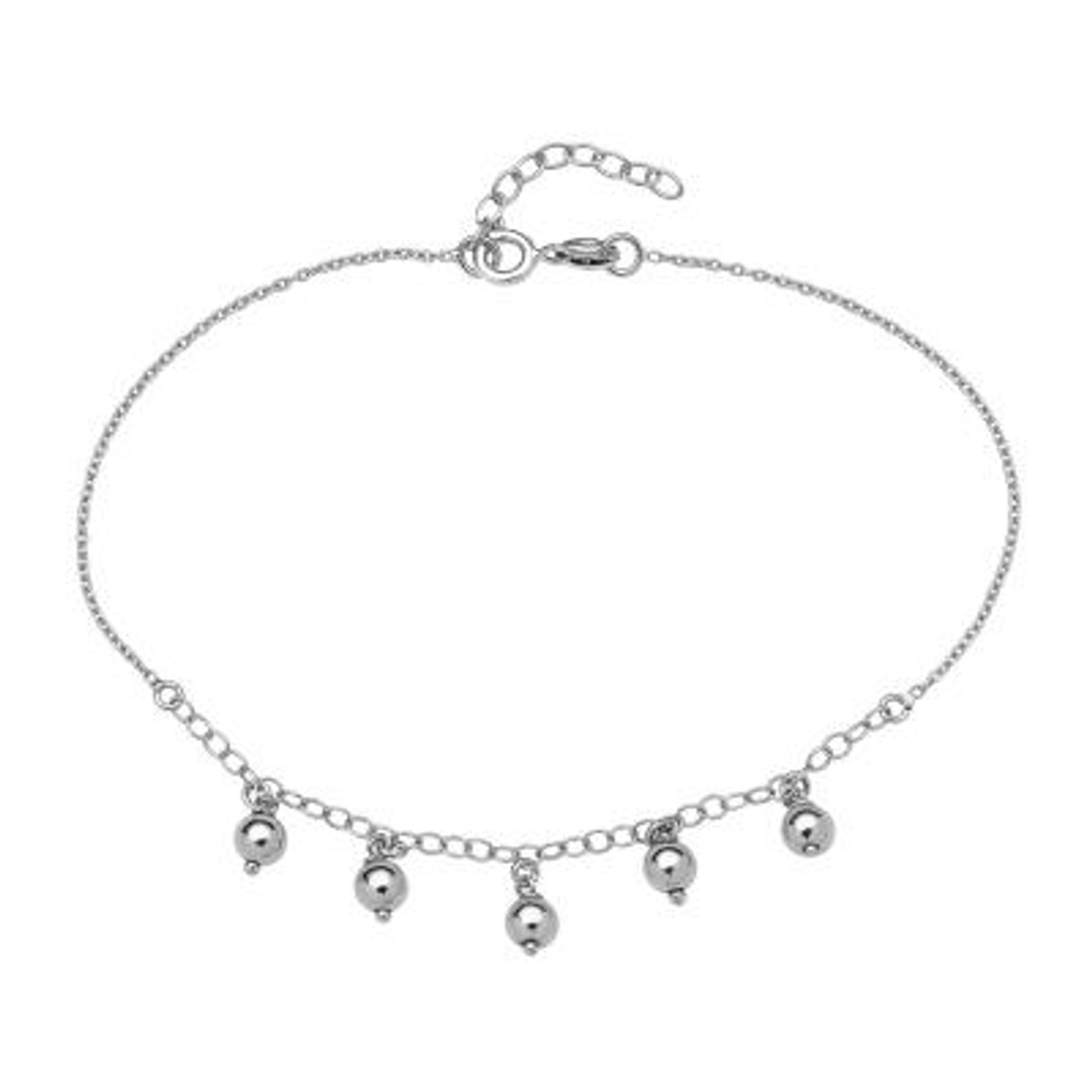 """Sterling Silver Anklet with Dangling Beads 9""""+1"""""""