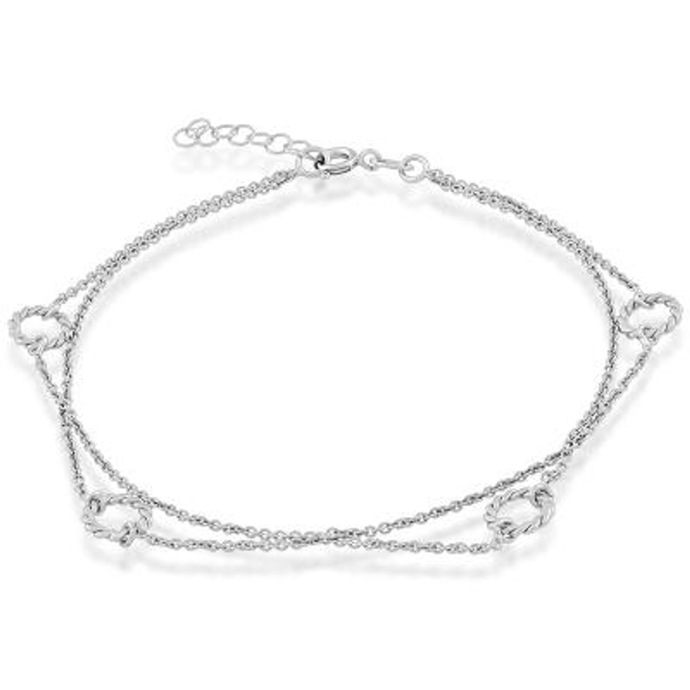 "Sterling Silver Anklet with Double Chain & Diamond Cut Rope Circles 9""+1"""