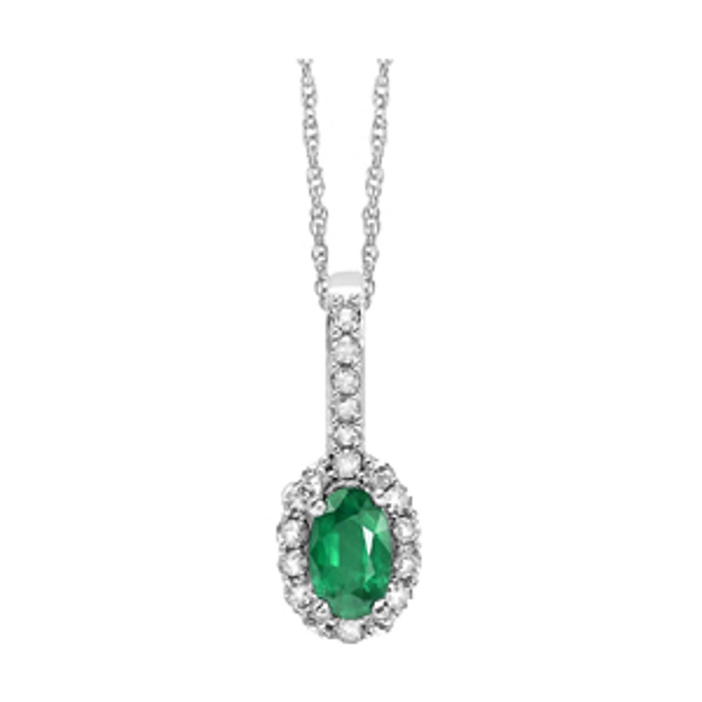 "14k White Gold Oval Emerald & Diamond Halo Necklace 18"" Chain"