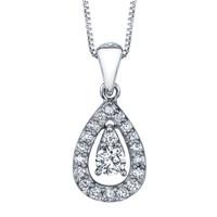 "14K White Gold Diamond Teardrop Pendant 0.25 DTW w/18"" Chain"