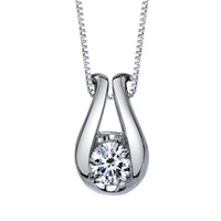 "14K White Gold Diamond Pendant 0.33 DTW w/18"" Box Chain"