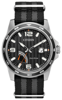Black-tone stainless steel case, black/grey striped strap and black dial with stripe detailing. Cyclops date magnifier and date. Featuring Eco-Drive technology – powered by light, any light. Never needs a battery.