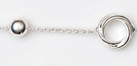 "Sterling Silver  Rhodium Finish, 7.5"" Alternating Knot And Ball Bracelet"