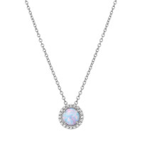 "Sterling Silver Created Opal with Simulated Diamond Pendant with 18"" Chain"
