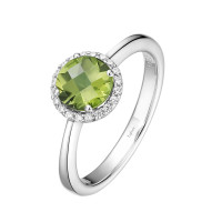Sterling Silver Peridot with Simulated Diamond Ring