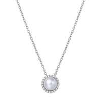 "Sterling Silver Fresh Water Pearl with Simulated Diamond Pendant with 18"" Chain"