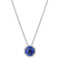 """Sterling Silver Lab Sapphire with Simulated Diamond Pendant with 18"""" Chain"""