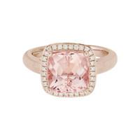 14 Karat Rose Gold Morganite & Diamond Halo Ring