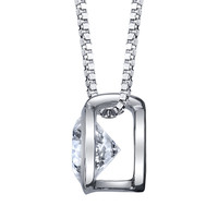 "14K White Gold Diamond Bezel Pendant 0.40 DTW w/18"" Box Chain"