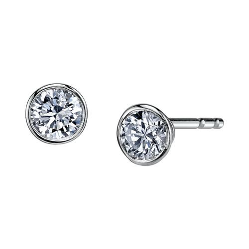 14K White Gold Diamond Bezel Stud Earrings 0.20 DTW