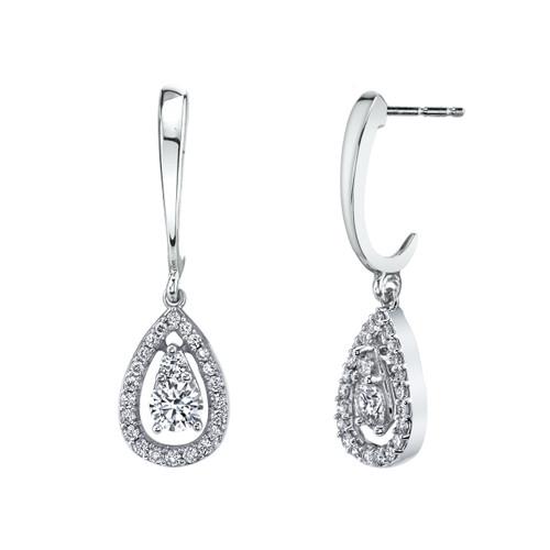 14K White Gold Diamond Teardrop Dangle Earrings 0.33 DTW
