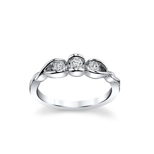 14K White Gold Half Bezel Set 3 Stone Diamond Ring 0.25 DTW
