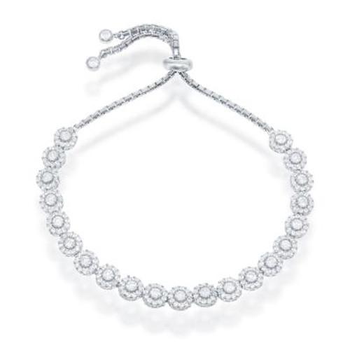 Sterling Silver & Halo CZ Bolo Bracelet