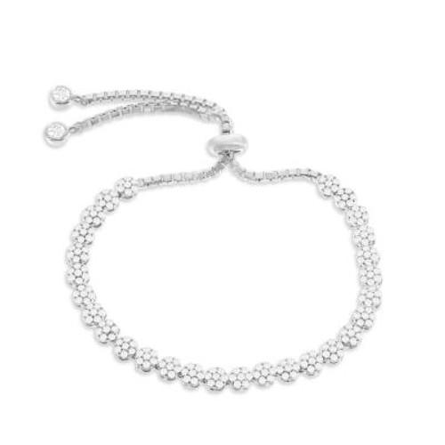 Sterling Silver Flower CZ Bolo Bracelet