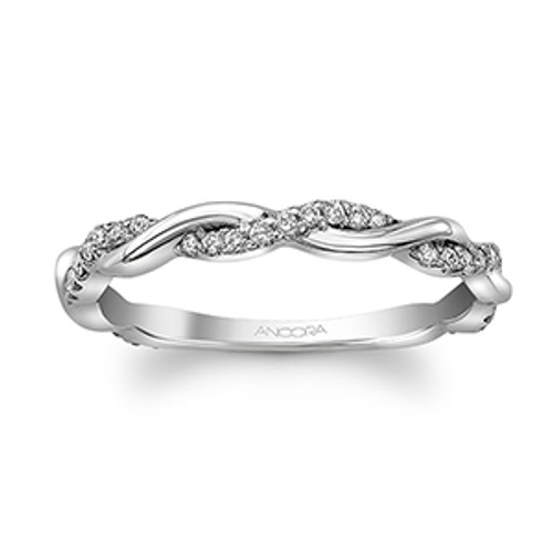 14 Karat White Gold Twisted Diamond Band .19 DTW  Matching Engagement Ring, semi-mount halo, SKU: 112-0013