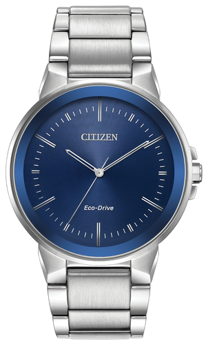 Stainless steel case and bracelet with a dark blue dial and edge-to-edge glass and date. Featuring Eco-Drive technology – powered by light, any light. Never needs a battery.