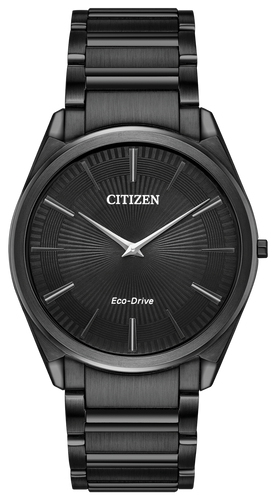 powered by any light with Eco-Drive Technology and featured in black stainless steel with black dial.