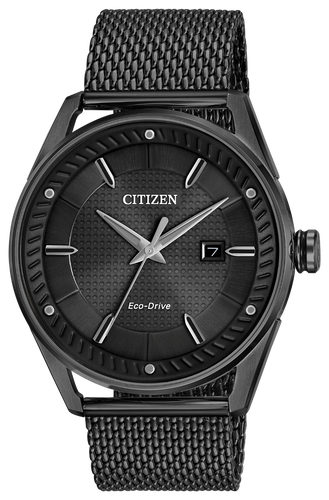 Black-tone stainless steel case, black-tone mesh bracelet, black dial and black accents. Featuring Eco-Drive technology – powered by light, any light. Never needs a battery.