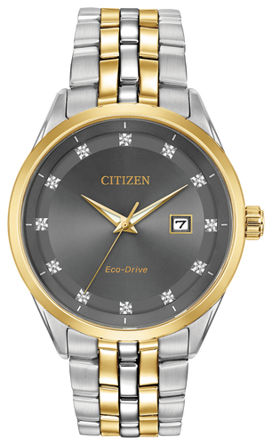 Two-tone stainless steel case and bracelet with charcoal grey dial. Featuring Eco-Drive technology – powered by light, any light. Never needs a battery.
