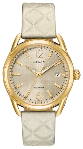 Gold-tone stainless steel case, quilted ivory strap, light champagne dial and date. Featuring Eco-Drive technology – powered by light, any light. Never needs a battery.