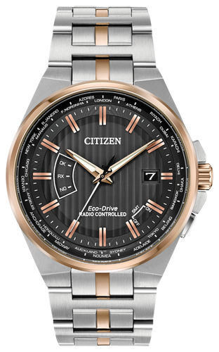 Powered by any light with Eco-Drive technology and features atomic timekeeping with synchronized time adjustment, perpetual calendar and date. Seen here in a men's two-tone rose gold stainless steel case and bracelet with charcoal grey dial.