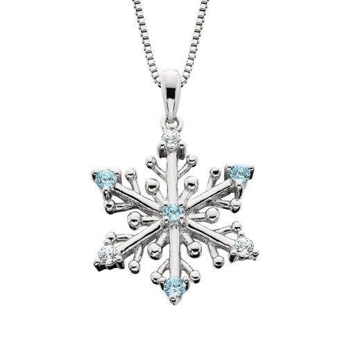 "SS Snowflake w/Blue & White Topaz w/18"" Box Chain"