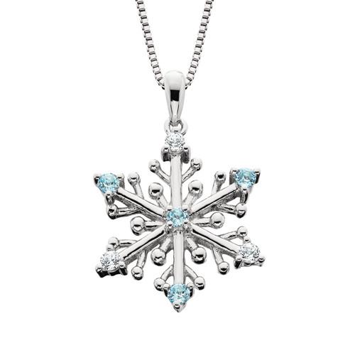 """SS Snowflake w/Blue & White Topaz w/18"""" Box Chain"""