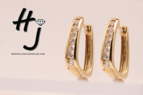14 Karat Yellow Gold .75 ctw Diamond Huggie Earrings