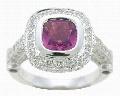 14 Karat White Gold Pink Tourmaline and .75ctw Diamond Ring