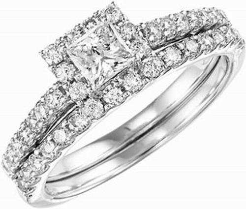 14 Karat White Gold 1.00 Dtw Princess Cut Halo Diamond Wedding Set (.38dtw PC)
