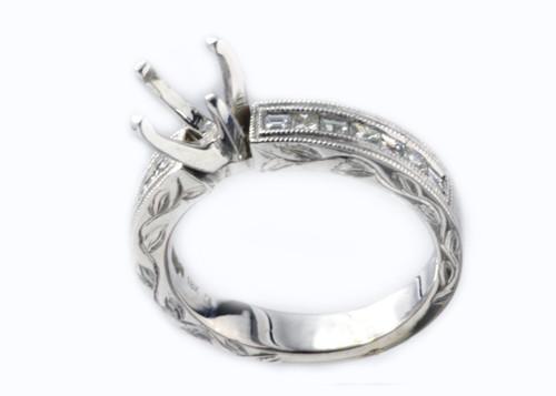 18 Karat White Gold .54 dtw Semi Mount Princess and Baguette Diamond Ring