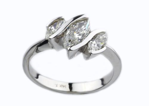 14 Karat  White Gold 1.13 dtw Three Stone Marquise Diamond Ring